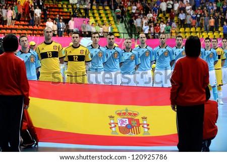BANGKOK, THAILAND - NOVEMBER 11: Spain players sing the national anthem during the FIFA Futsal World Cup  between Thailand and Spain at Nimibutr Stadium on November 11, 2012 in Bangkok, Thailand.