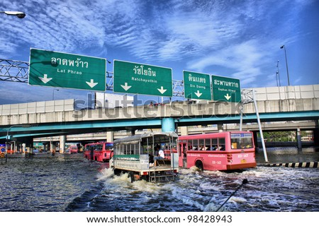 BANGKOK, THAILAND - NOVEMBER 12 : Thai flood hits Central of Thailand, higher water levels expected, during the worst flooding in decades on November 12,2011 Bangkok, Thailand. - stock photo