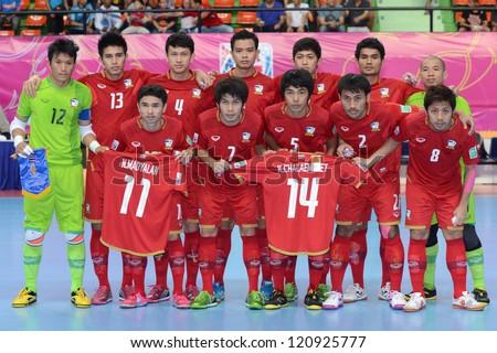 BANGKOK, THAILAND - NOVEMBER 11: Thailand players are seen prior to the FIFA Futsal World Cup  between Thailand and Spain at Nimibutr Stadium on November 11, 2012 in Bangkok, Thailand.