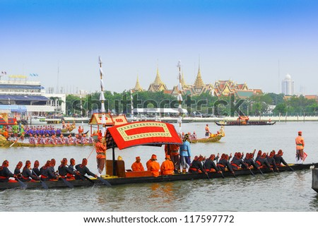 BANGKOK,THAILAND-NOVEMBER 2: The plenty of ships was set for dress rehearsal of the Royal Barge Procession for the Royal Kathin Ceremony at Chaopraya river on November 2,2012 in Bangkok,Thailand