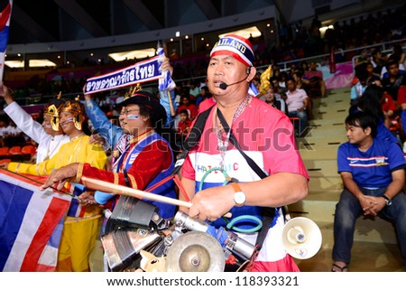BANGKOK,THAILAND-NOVEMBER04: Unidentified fans of Thailand supporters during the FIFA Futsal World Cup between Thailand and Ukraine at Indoor Stadium Huamark on Nov4, 2012 in,Thailand.