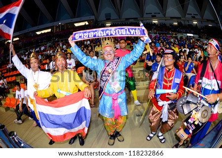 BANGKOK,THAILAND-NOVEMBER 04:Unidentified fans of thailand supporters  the FIFA Futsal World Cup between Thailand and Ukraine at Indoor Stadium Huamark on Nov4, 2012 in Bangkok, Thailand.