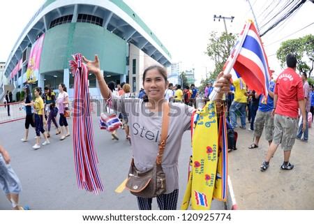 BANGKOK,THAILAND-NOVEMBER 11: Unidentified of Thailand Flag supporters during the FIFA Futsal World Cup between Thailand and Spain at Nimibutr Stadium on November 11, 2012 in Bangkok, Thailand.
