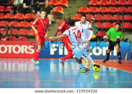 BANGKOK, THAILAND - NOVEMBER 12: Unidentified player in FIFA Futsal World Cup Round of 16 match between Russia and Czech Republic at Indoor Stadium Huamark on November 12, 2012 in Bangkok, Thailand.