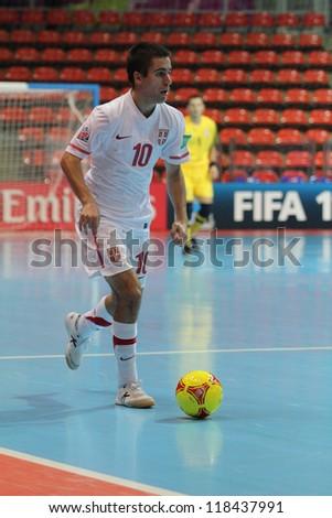 BANGKOK, THAILAND - NOVEMBER 06: Unidentified players in FIFA Futsal World Cup at Indoor Stadium Huamark on November 6, 2012 in Bangkok, Thailand.