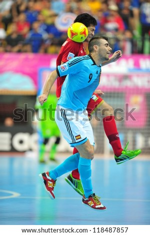 BANGKOK, THAILAND - NOVEMBER 11: Unidentified players in FIFA Futsal World Cup, Round of 16 match between Thailand (R) and Spain (B) at Nimibutr Stadium on November 11, 2012 in Bangkok, Thailand.