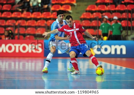 BANGKOK, THAILAND - NOVEMBER 12: Unidentified players in FIFA Futsal World Cup Round of 16 match between Serbia and Argentina at Indoor Stadium Huamark on November 12, 2012 in Bangkok, Thailand.