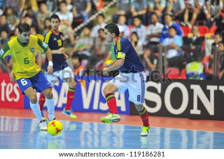 BANGKOK, THAILAND - NOVEMBER 16: Unidentified players in FIFA Futsal World Cup, Semi-Final match between Brazil and Colombia at Indoor Stadium Huamark on November 16, 2012 in Bangkok, Thailand.
