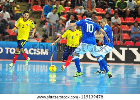BANGKOK, THAILAND - NOVEMBER 18: Unidentified players in the FIFA Futsal World Cup Final Between Italy (B) VS Colombia (Y) at Indoor Stadium Huamark on November 18, 2012 in Bangkok, Thailand.