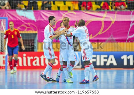 BANGKOK, THAILAND - NOVEMBER 14: Unidentified players in the FIFA Futsal World Cup, Quarter-Final match between Spain and Russia at Nimibutr Stadium on November 14, 2012 in Bangkok, Thailand.
