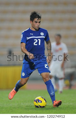 BANGKOK THAILAND-NOVENBER 27:Jason Nicolas M.Dantes De Jong (blue)of Philippines in action during  the AFF Suzuki Cup between Vietnam and Philippines at Rajamangala stadium on Nov27, 2012 in,Thailand.
