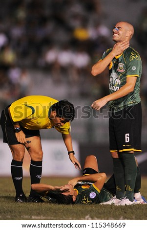 BANGKOK THAILAND-OCT3:Daniel Blanco (R) of Army United F.C.in action during Thaicom FA Cup between Army United F.C.and SCG Muangthong utd.at Thai Army Stadium on October3,2012 in Thailand