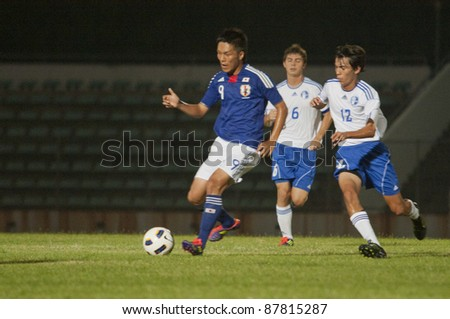 BANGKOK, THAILAND-OCT 31 : K.Kubo (B) in action during AFC U-19 Championship 2012 between Japan (B) and Guam (W) at Thai-Japan Stadium on October 31, 2011 in Bangkok, Thailand