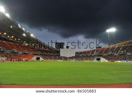 BANGKOK THAILAND - OCT 11: Rajamangla Stadium during FIFA WORLD CUP 2014 between Thailand(B) and Saudi Arabia(W) at Rajamangla Stadium on Oct 11, 2011 Bangkok, Thailand.