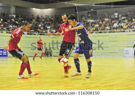 BANGKOK THAILAND - OCT 21 : Unidentified players in Friendly futsal match Between Thailand VS Egypt at Kiraves Stadium on October 21,2012 in Bangkok,Thailand.