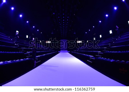 BANGKOK THAILAND-OCTOBER 12:A model walks on the catwalk showing for Painkiller design by Thai designer Siriorn Teankaprasith during the Elle fashion week 2012 at Bangkok on Oct 12, 2012 in Thailand