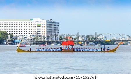 "BANGKOK,THAILAND-OCTOBER 25:An ancient ship ""Ekachai Lao Thong"" was set for the Royal Barge Procession rehearsal for the Royal Kathin Ceremony at Chaopraya river on October 25,2012 in Bangkok,Thailand"
