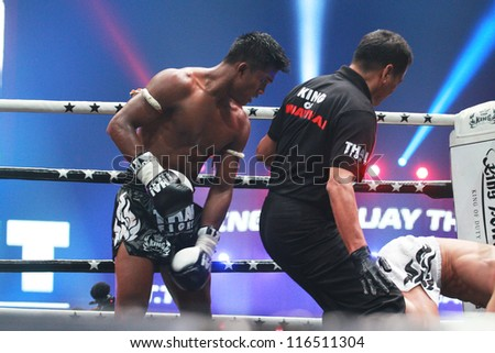 BANGKOK, THAILAND- OCTOBER 23 : Buakaw Por.Pramuk (THAI) vs Mauro Serra (ITALY) 70 KG.  in THAI FIGHT 2012. on October 23, 2012 at Chanchai Acadium, Bangkok, Thailand