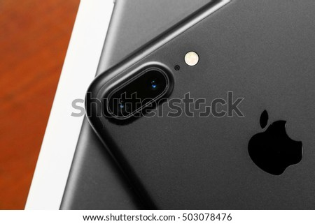 BANGKOK, THAILAND -OCTOBER 23, 2016: close up image on camera duo lens the back of the new apple iphone 7plus on October 23, 2016