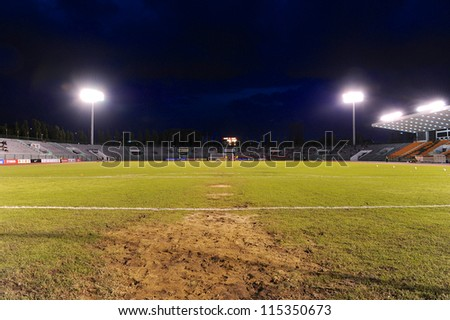BANGKOK THAILAND-OCTOBER 3: view of Thai Army Stadium before match during Thaicom FA Cup between Army United F.C.and SCG Muangthong utd.at Thai Army Stadium on Oct 3,2012 in Bangkok,Thailand