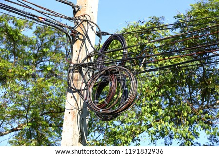 BANGKOK, THAILAND - SEP 2018 : The chaos of cables and wires, Spare wire for re-wireing #1191832936
