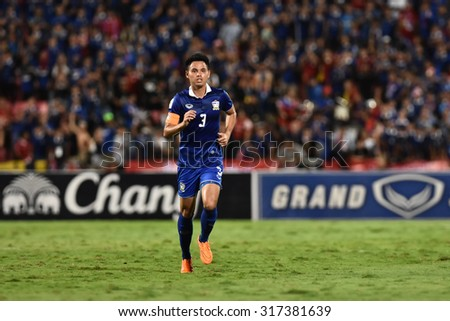 BANGKOK THAILAND SEP8:Theerathon Bunmathan of Thailand in action during the Fifa World Cup Group F qualifying Match between Thailand and Iraq at Rajamangala Stadium on September 8,2015 in Thailand.