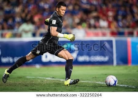 BANGKOK,THAILAND SEPTEMBER 08:Goalkeeper Kawin Thamsatchanan of Thailand  in action during the 2018 FIFA World Cup Qualifier between Thailand and Iraq at Rajamangala Stadium on Sep 8,2015 in Thailand.