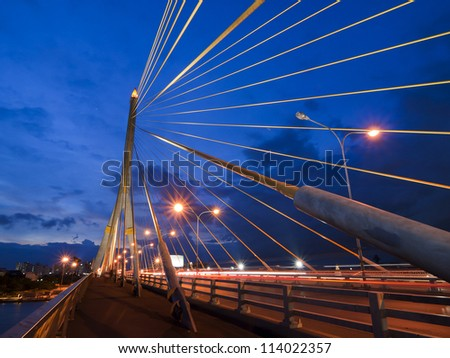 BANGKOK, THAILAND-SEPTEMBER 27:The Rama 8 Bridge , one of Thailand most famous bridges, spanning the river Choa Phraya on September 27 ,2012 in Bangkok, Thailand.