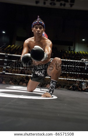 BANGKOK, THAILAND- SEPTEMBER 25 : Unidentified fighter in Thai Fight:Muay Thai. World's Unrivalled Fight on September 25, 2011 at Thammasat University Convention Center, Bangkok, Thailand