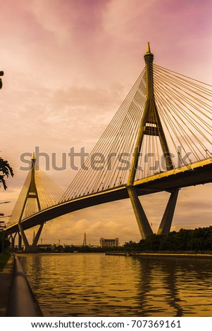 Bangkok Thailand: sunset Bhumiphol Bridge at Chao Phraya river #707369161
