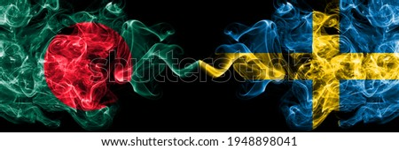 Bangladesh, Bangladeshi vs Sweden, Swedish Swede smoky mystic flags placed side by side. Thick colored silky abstract smokes flags. Foto stock ©