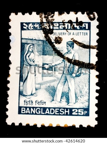 BANGLADESH - CIRCA 2006: A stamp printed in Bangladesh shows image of the delivery of a letter, series, circa 2006