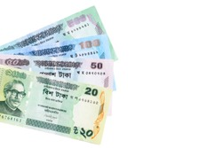 Bangladesh currency banknote isolated on white background with copy space