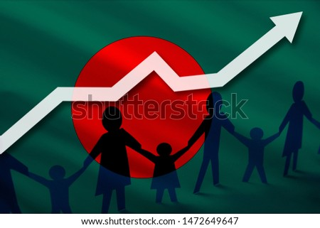 Bangladesh flag on a background of a growing arrow up and people with children holding hands. Demographic growth of the country, tourists, refugees, immigrants