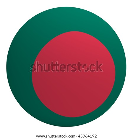 Bangladesh flag on the ball isolated on white. Computer generated 3D photo rendering.