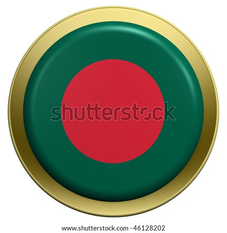 Bangladesh flag on the round button isolated on white. Computer generated 3D photo rendering.