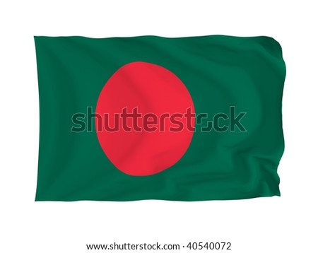 Bangladesh. High resolution Asian Flag series. With fabric texture.