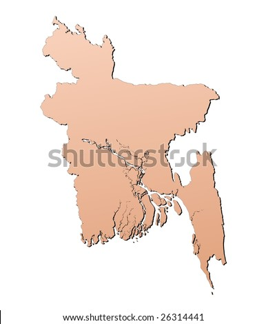 Bangladesh map filled with brown gradient. Mercator projection.