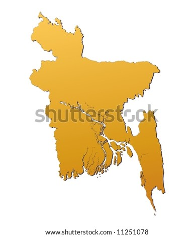 Bangladesh map filled with orange gradient. Mercator projection. Original rendered image using public domain data(coordinates).