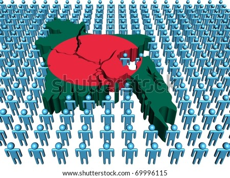 Bangladesh map flag surrounded by many abstract people illustration