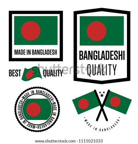 Bangladesh quality isolated label set for goods. Exporting stamp with bangladeshi flag, nation manufacturer certificate element, country productemblem. Made in Bangladesh badge collection.