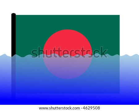 bangladeshi flag submerged during flood