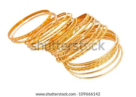 Bangle, Indian bracelets isolated on the white background