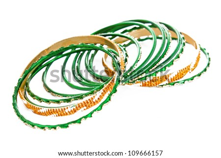 Bangle, Indian bracelets isolated on the white background - stock photo