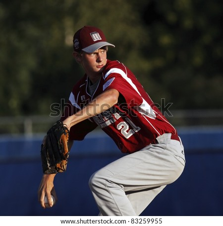 BANGOR, MAINE - AUGUST 18: Evan Pelkey pitches for Maine (Brewer/Orrington) at the Senior League Baseball World Series August 18, 2011 in Bangor, Maine.