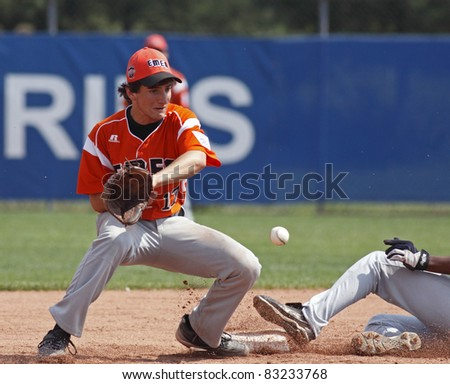 BANGOR, MAINE - AUGUST 19: Marco Mari of EMEA (Italy) at second base in the Senior League Baseball World Series semifinals against US West (Hilo, Hawaii) on August 19, 2011 in Bangor, Maine.