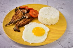BangSilog:a popular fast food in the Philippines that comes with rice and egg. BangSilog is a Milk fish(Bangus in Filipino) and etlog (egg in Filipino)