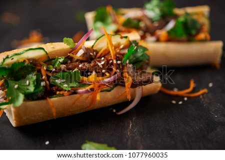 banh mi sanwdiches with beef. close up Zdjęcia stock ©