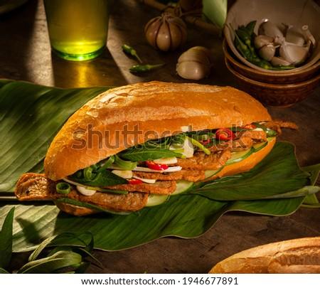 banh mi - Vietnamese sandwich - banh mi fishcake  Zdjęcia stock ©