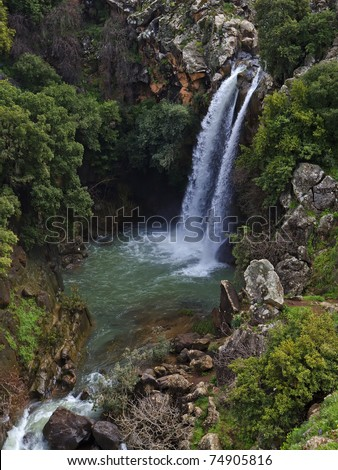 stock-photo-banias-waterfall-in-the-spri